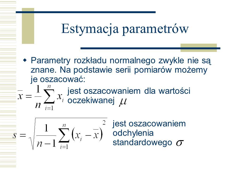 Estymacja parametrów Parametry rozkładu normalnego zwykle nie są znane. Na podstawie serii pomiarów możemy je oszacować: jest oszacowaniem dla wartośc