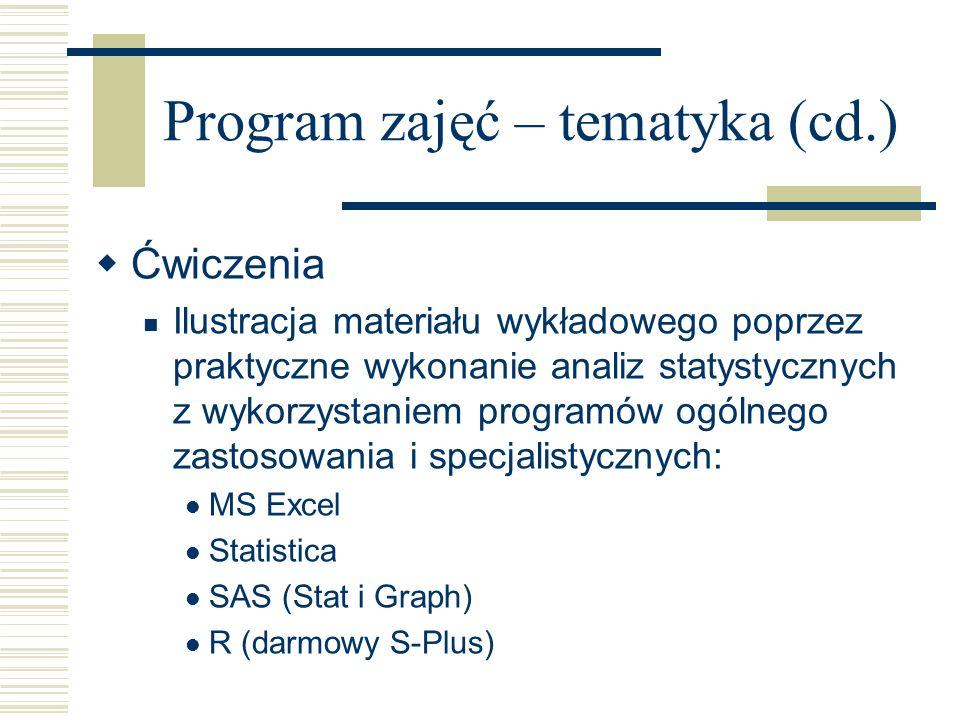 Program zajęć – tematyka (cd.) Ćwiczenia Ilustracja materiału wykładowego poprzez praktyczne wykonanie analiz statystycznych z wykorzystaniem programó