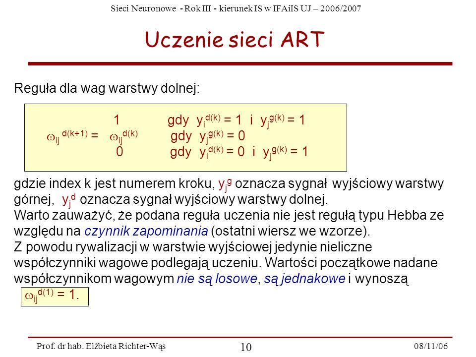 Sieci Neuronowe - Rok III - kierunek IS w IFAiIS UJ – 2006/2007 08/11/06 11 Prof.