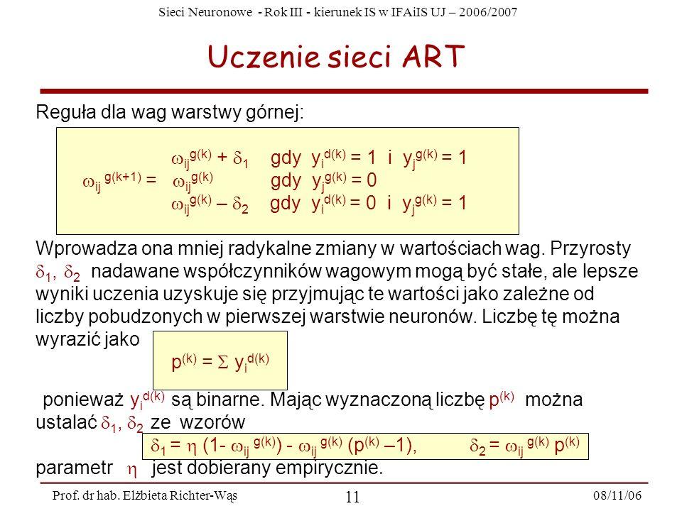 Sieci Neuronowe - Rok III - kierunek IS w IFAiIS UJ – 2006/2007 08/11/06 12 Prof.