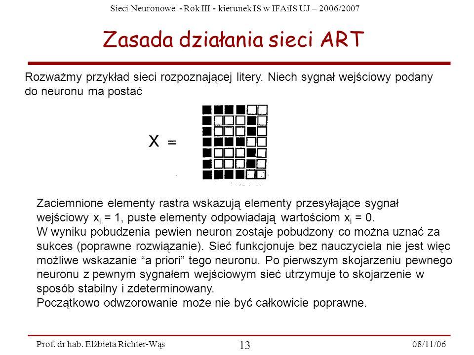Sieci Neuronowe - Rok III - kierunek IS w IFAiIS UJ – 2006/2007 08/11/06 14 Prof.