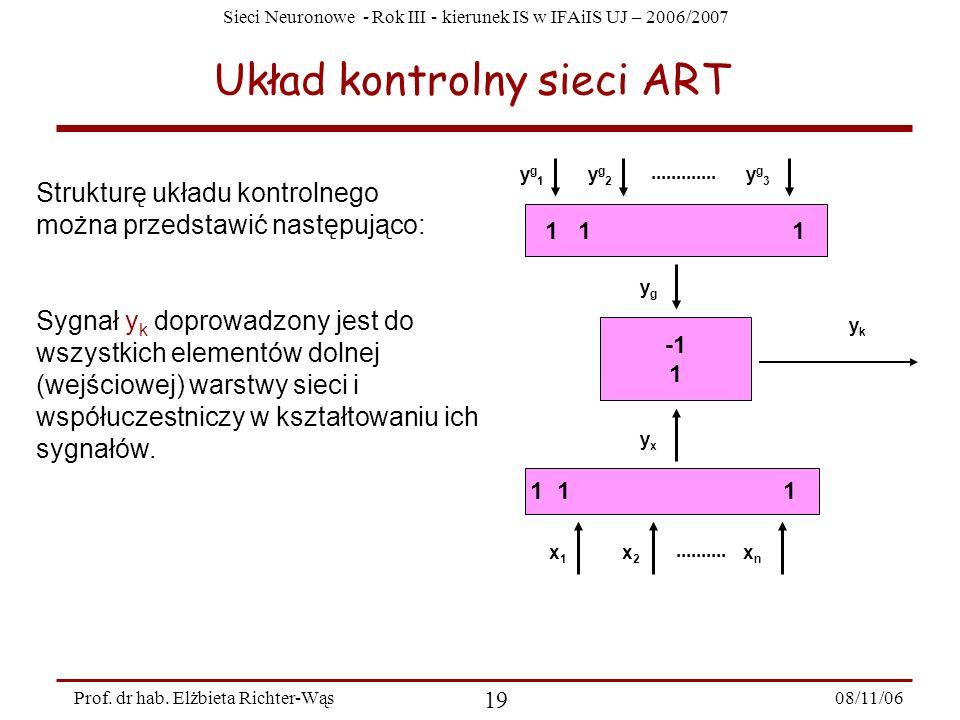 Sieci Neuronowe - Rok III - kierunek IS w IFAiIS UJ – 2006/2007 08/11/06 20 Prof.