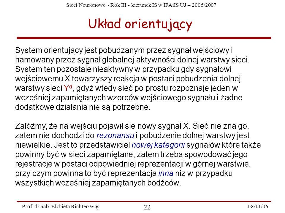 Sieci Neuronowe - Rok III - kierunek IS w IFAiIS UJ – 2006/2007 08/11/06 23 Prof.