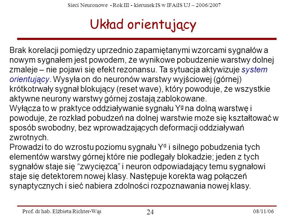 Sieci Neuronowe - Rok III - kierunek IS w IFAiIS UJ – 2006/2007 08/11/06 25 Prof.