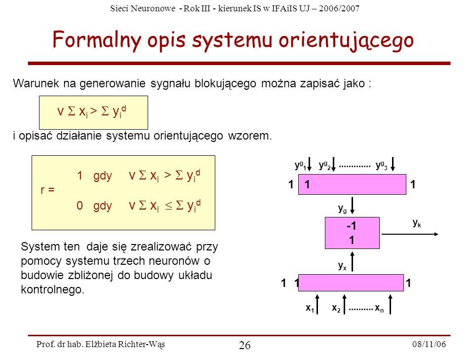 Sieci Neuronowe - Rok III - kierunek IS w IFAiIS UJ – 2006/2007 08/11/06 27 Prof.