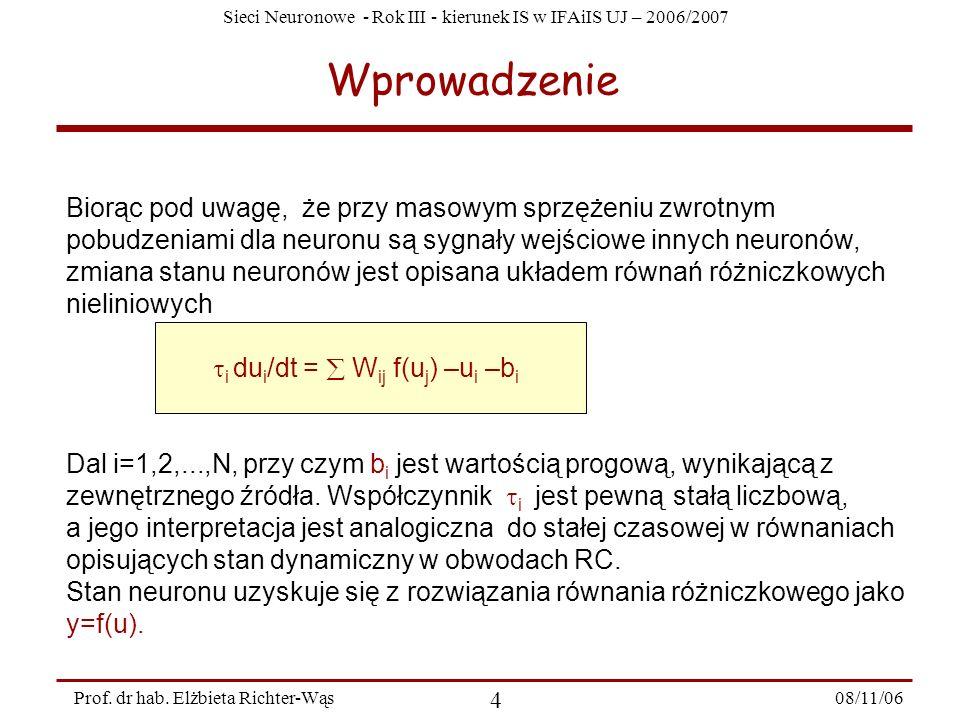 Sieci Neuronowe - Rok III - kierunek IS w IFAiIS UJ – 2006/2007 08/11/06 5 Prof.