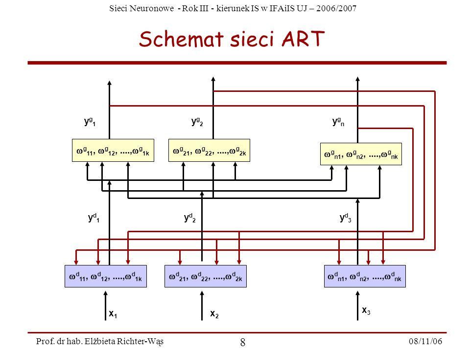 Sieci Neuronowe - Rok III - kierunek IS w IFAiIS UJ – 2006/2007 08/11/06 9 Prof.