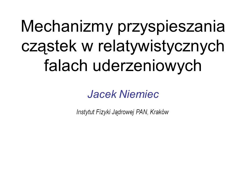 u B,1 ~1.4c indeks widmowy nie dąży do asymptotycznej wartości dla dużych czynników Lorentza 1 JN, Ostrowski (2004, 2006; & Pohl 2006) Realistyczne modele procesu Fermiego I rzędu (symulacje Monte Carlo) k res 2 / r g (E)