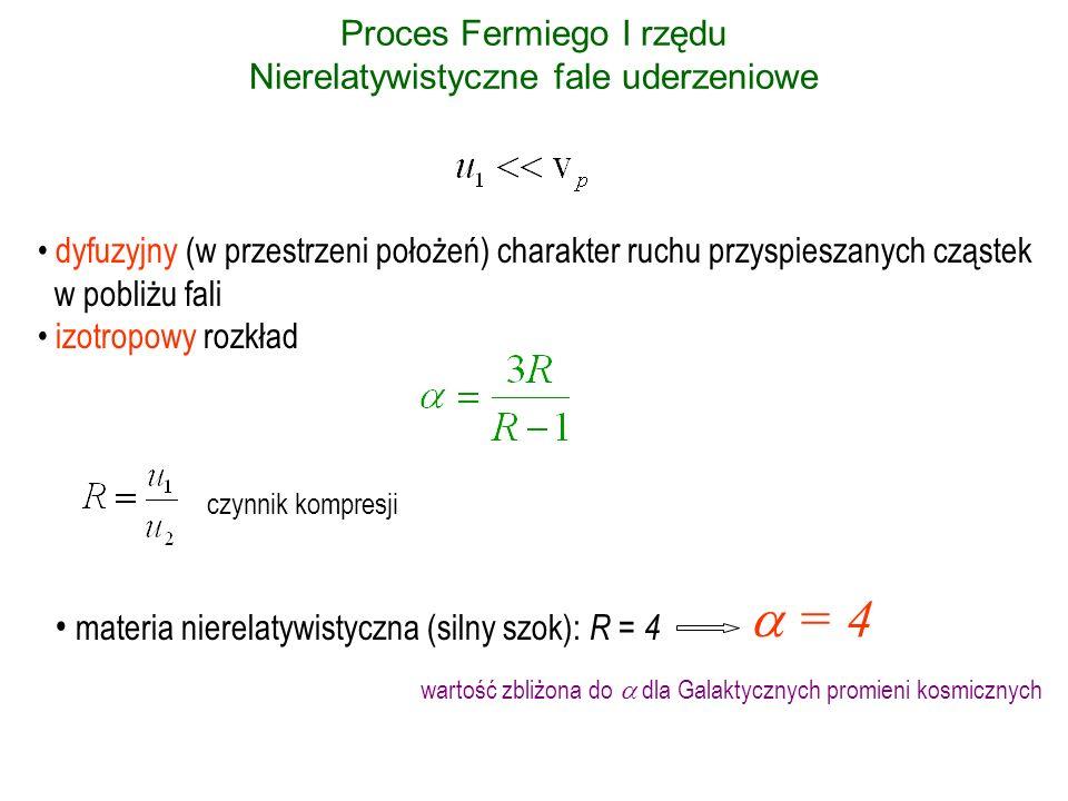 Proces Fermiego I rzędu Nierelatywistyczne fale uderzeniowe dyfuzyjny (w przestrzeni położeń) charakter ruchu przyspieszanych cząstek w pobliżu fali i