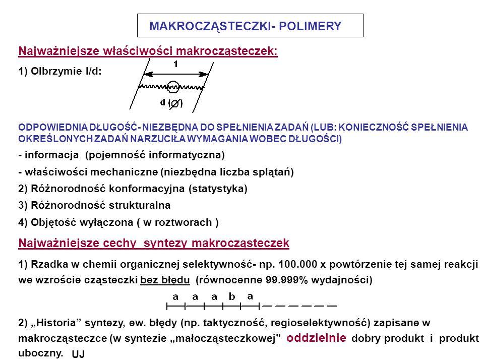 MAKROCZĄSTECZKI- POLIMERY Najważniejsze właściwości makrocząsteczek: 1) Olbrzymie l/d: ODPOWIEDNIA DŁUGOŚĆ- NIEZBĘDNA DO SPEŁNIENIA ZADAŃ (LUB: KONIEC