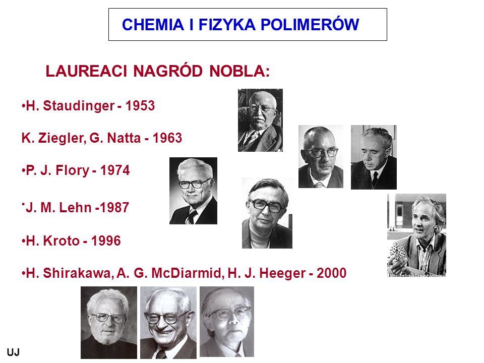 CHEMIA I FIZYKA POLIMERÓW LAUREACI NAGRÓD NOBLA: H. Staudinger - 1953 K. Ziegler, G. Natta - 1963 P. J. Flory - 1974. J. M. Lehn -1987 H. Kroto - 1996