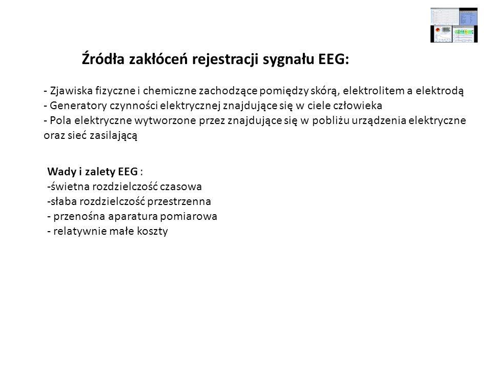 Źródła zakłóceń rejestracji sygnału EEG: - Zjawiska fizyczne i chemiczne zachodzące pomiędzy skórą, elektrolitem a elektrodą - Generatory czynności el