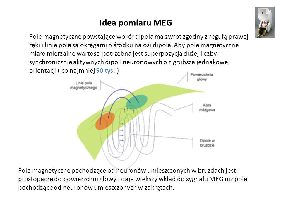 Idea pomiaru MEG Pole magnetyczne pochodzące od neuronów umieszczonych w bruzdach jest prostopadłe do powierzchni głowy i daje większy wkład do sygnał