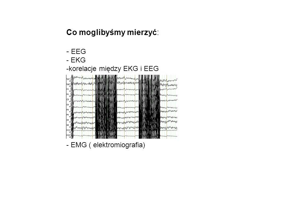 Co moglibyśmy mierzyć: - EEG - EKG -korelacje między EKG i EEG - EMG ( elektromiografia)