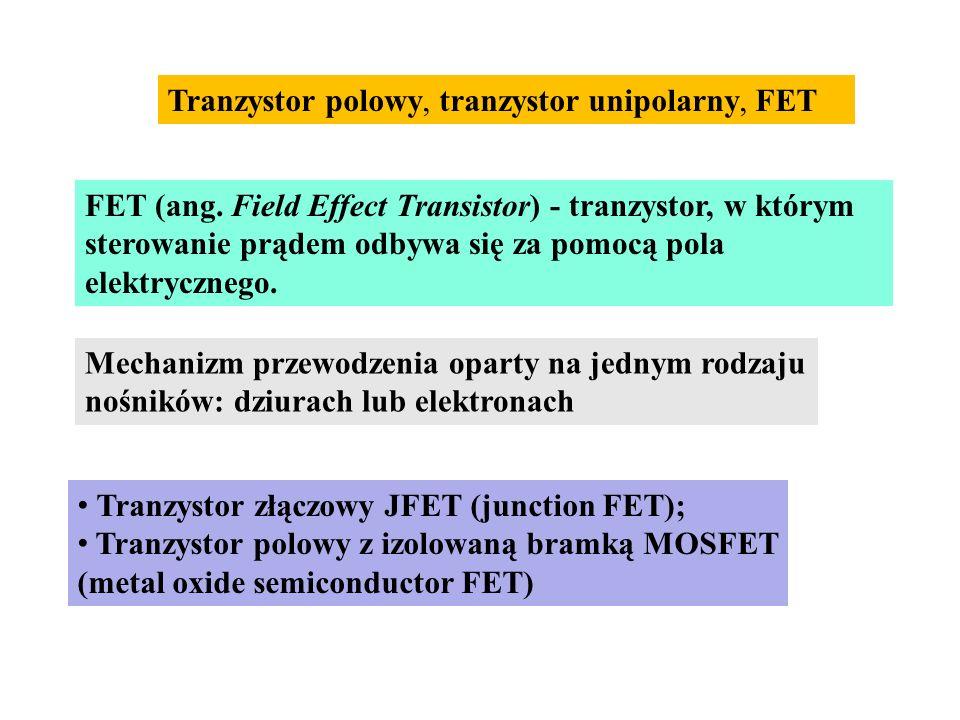 FET (ang. Field Effect Transistor) - tranzystor, w którym sterowanie prądem odbywa się za pomocą pola elektrycznego. Tranzystor polowy, tranzystor uni