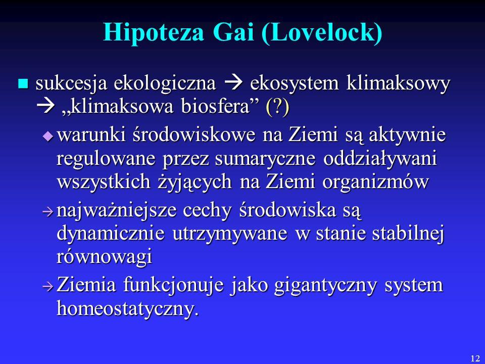 12 Hipoteza Gai (Lovelock) sukcesja ekologiczna ekosystem klimaksowy klimaksowa biosfera (?) sukcesja ekologiczna ekosystem klimaksowy klimaksowa bios