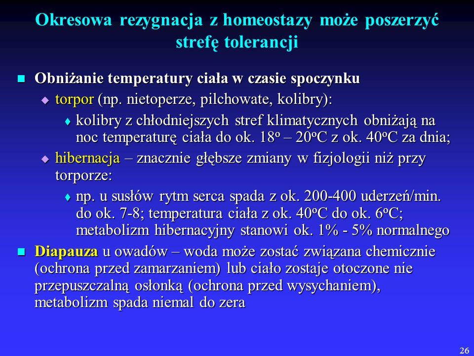 26 Okresowa rezygnacja z homeostazy może poszerzyć strefę tolerancji Obniżanie temperatury ciała w czasie spoczynku Obniżanie temperatury ciała w czas