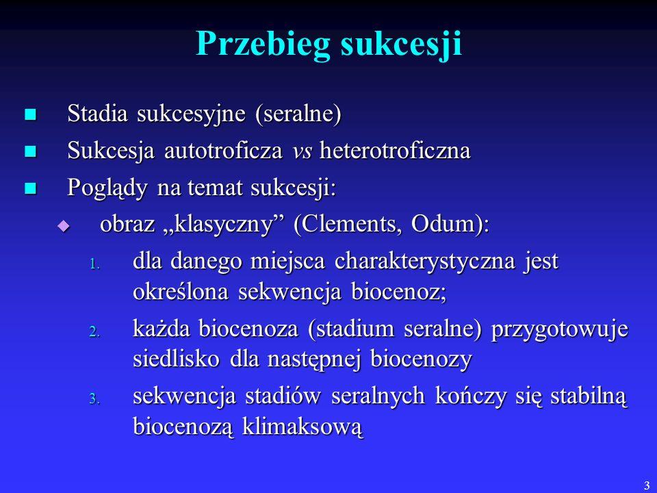 3 Przebieg sukcesji Stadia sukcesyjne (seralne) Stadia sukcesyjne (seralne) Sukcesja autotroficza vs heterotroficzna Sukcesja autotroficza vs heterotr