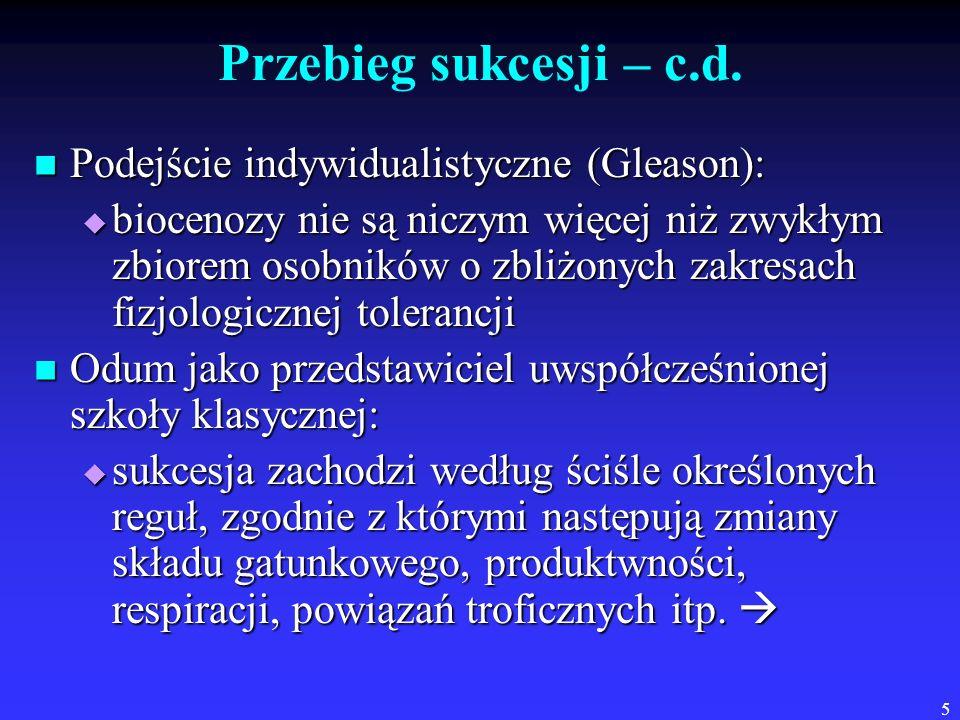5 Przebieg sukcesji – c.d. Podejście indywidualistyczne (Gleason): Podejście indywidualistyczne (Gleason): biocenozy nie są niczym więcej niż zwykłym