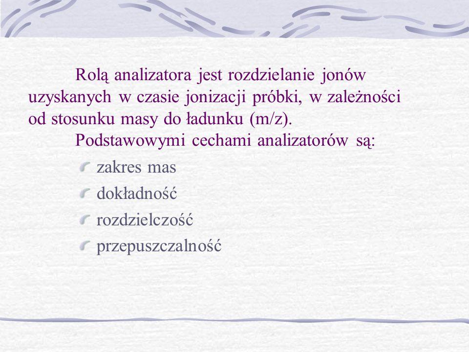 Rolą analizatora jest rozdzielanie jonów uzyskanych w czasie jonizacji próbki, w zależności od stosunku masy do ładunku (m/z). Podstawowymi cechami an