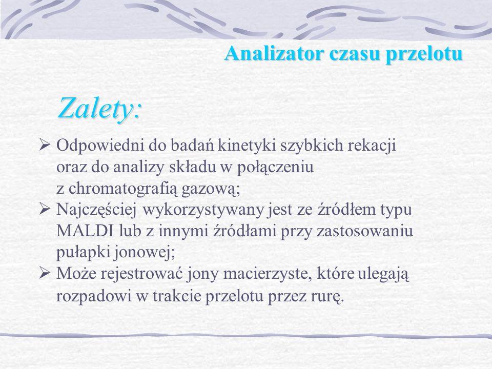 Analizator czasu przelotu Zalety: Analizator czasu przelotu Zalety: Odpowiedni do badań kinetyki szybkich rekacji oraz do analizy składu w połączeniu