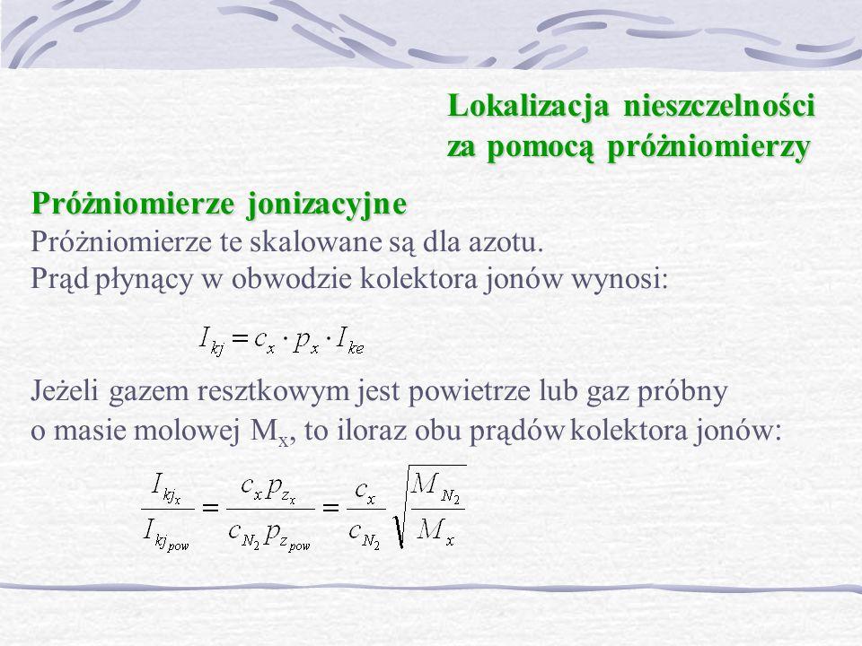 Próżniomierze jonizacyjne Próżniomierze jonizacyjne Próżniomierze te skalowane są dla azotu. Prąd płynący w obwodzie kolektora jonów wynosi: Jeżeli ga