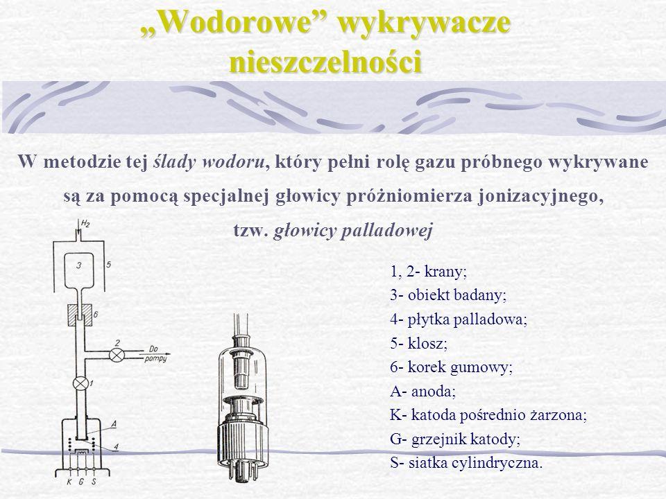 Wodorowe wykrywacze nieszczelności W metodzie tej ślady wodoru, który pełni rolę gazu próbnego wykrywane są za pomocą specjalnej głowicy próżniomierza