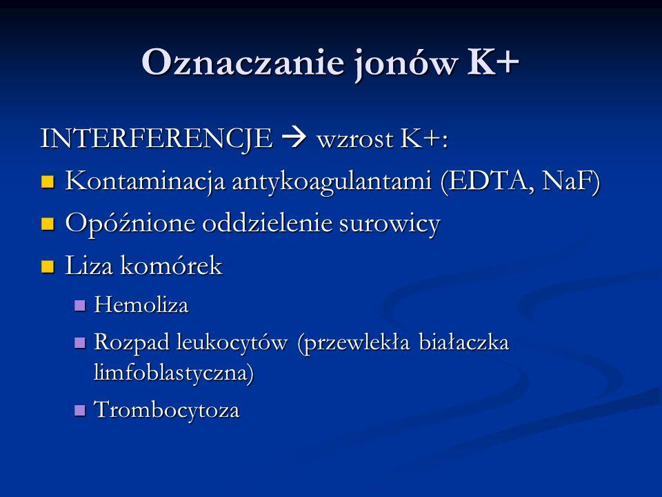 Oznaczanie jonów K+ INTERFERENCJE wzrost K+: Kontaminacja antykoagulantami (EDTA, NaF) Kontaminacja antykoagulantami (EDTA, NaF) Opóźnione oddzielenie