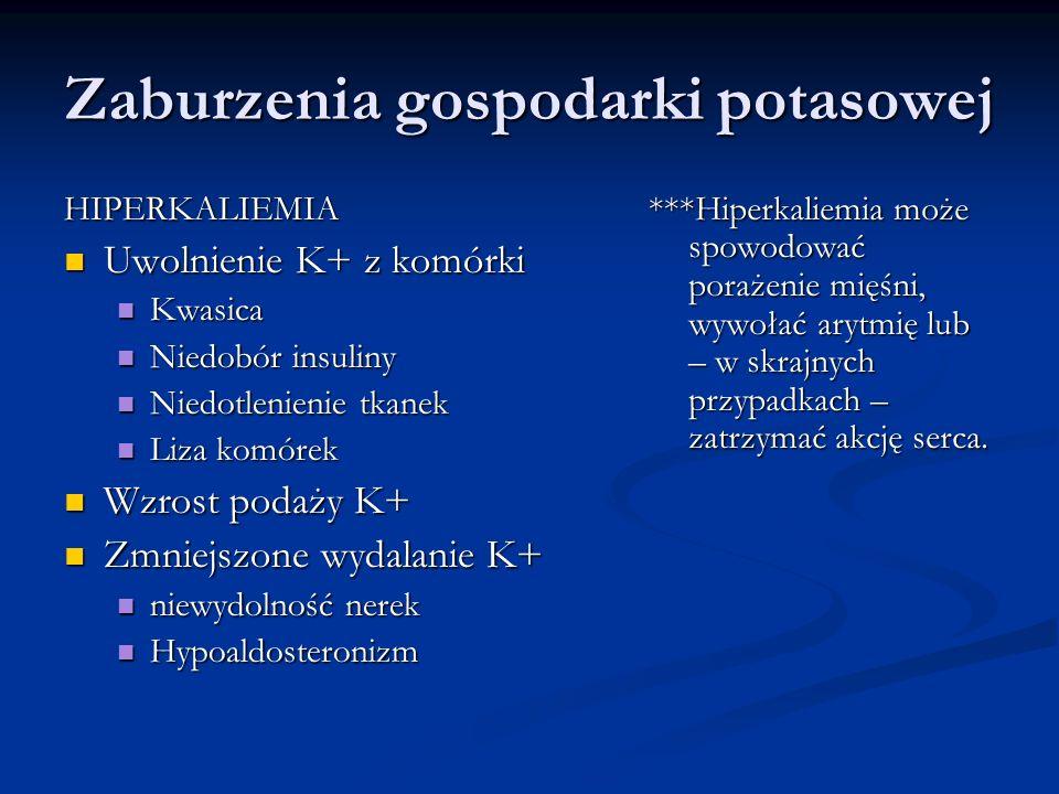 Zaburzenia gospodarki potasowej HIPERKALIEMIA Uwolnienie K+ z komórki Uwolnienie K+ z komórki Kwasica Kwasica Niedobór insuliny Niedobór insuliny Nied
