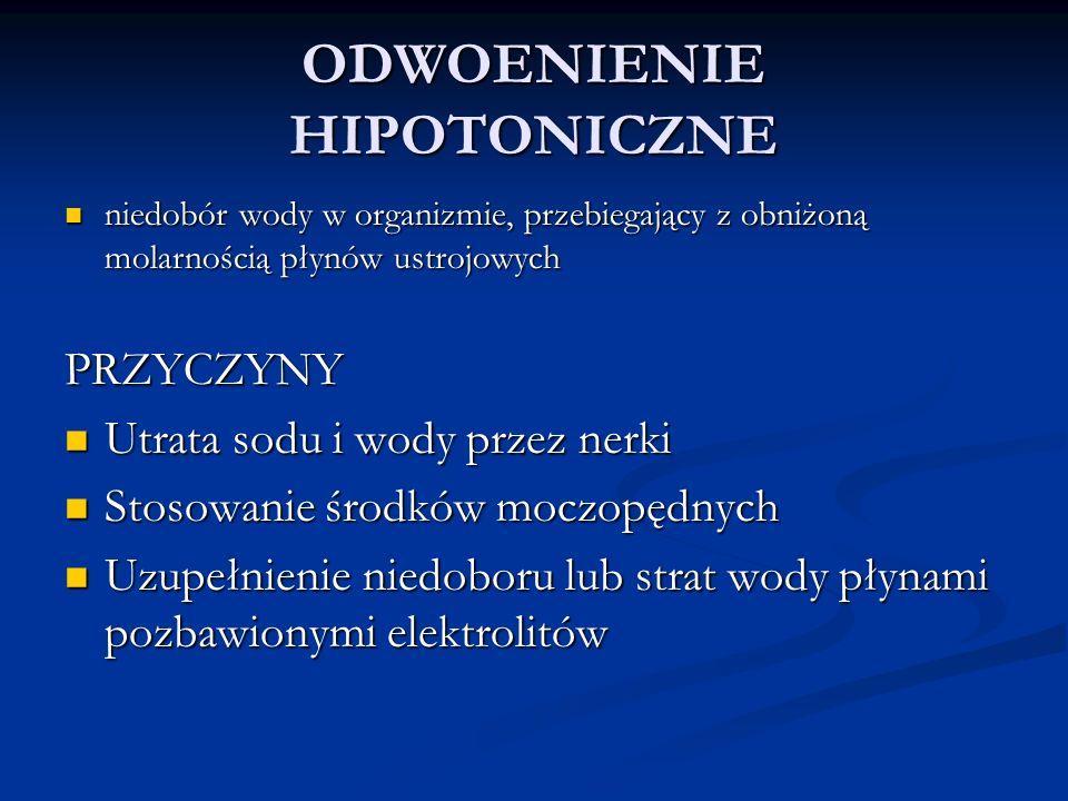 ODWOENIENIE HIPOTONICZNE niedobór wody w organizmie, przebiegający z obniżoną molarnością płynów ustrojowych niedobór wody w organizmie, przebiegający