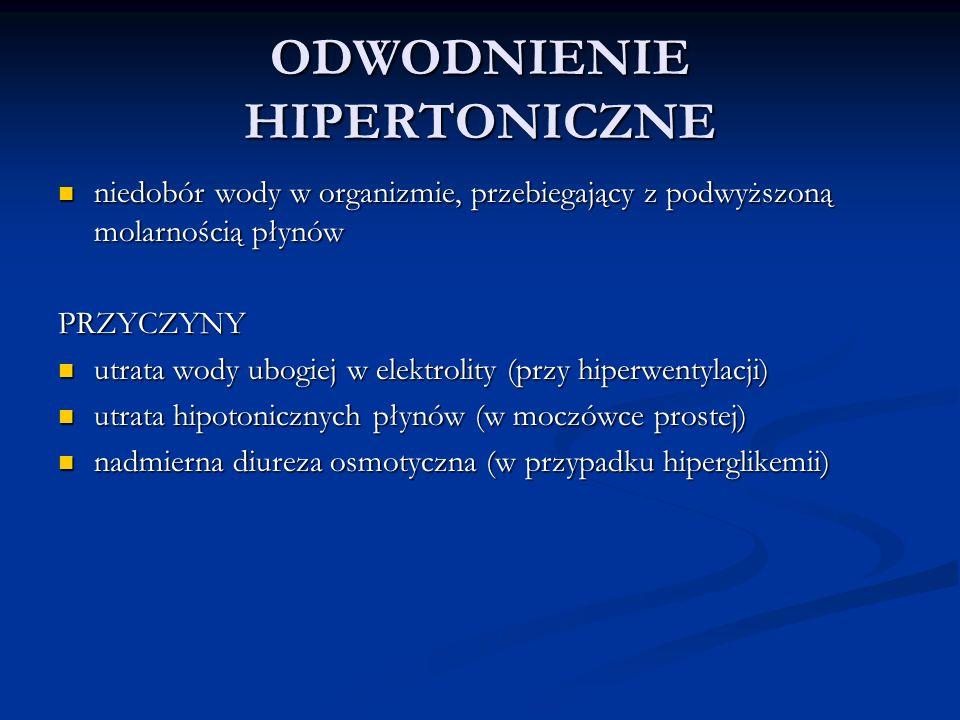 ODWODNIENIE HIPERTONICZNE niedobór wody w organizmie, przebiegający z podwyższoną molarnością płynów niedobór wody w organizmie, przebiegający z podwy