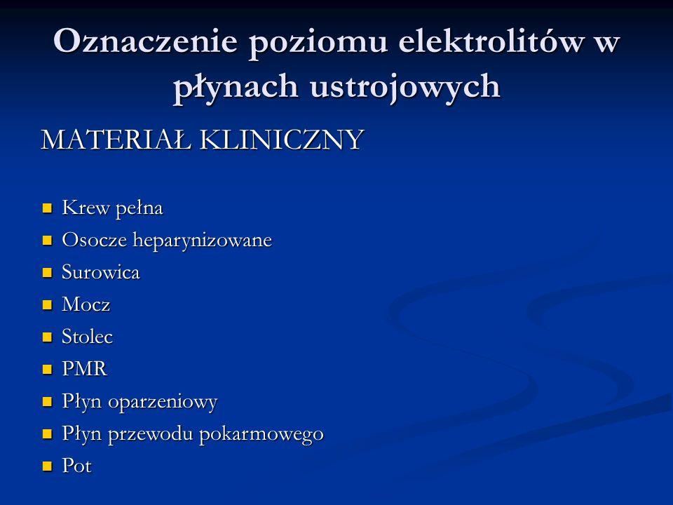 Oznaczenie poziomu elektrolitów w płynach ustrojowych MATERIAŁ KLINICZNY Krew pełna Krew pełna Osocze heparynizowane Osocze heparynizowane Surowica Su