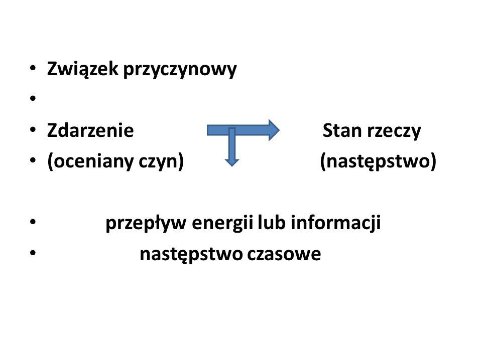 Związek przyczynowy Zdarzenie Stan rzeczy (oceniany czyn) (następstwo) przepływ energii lub informacji następstwo czasowe