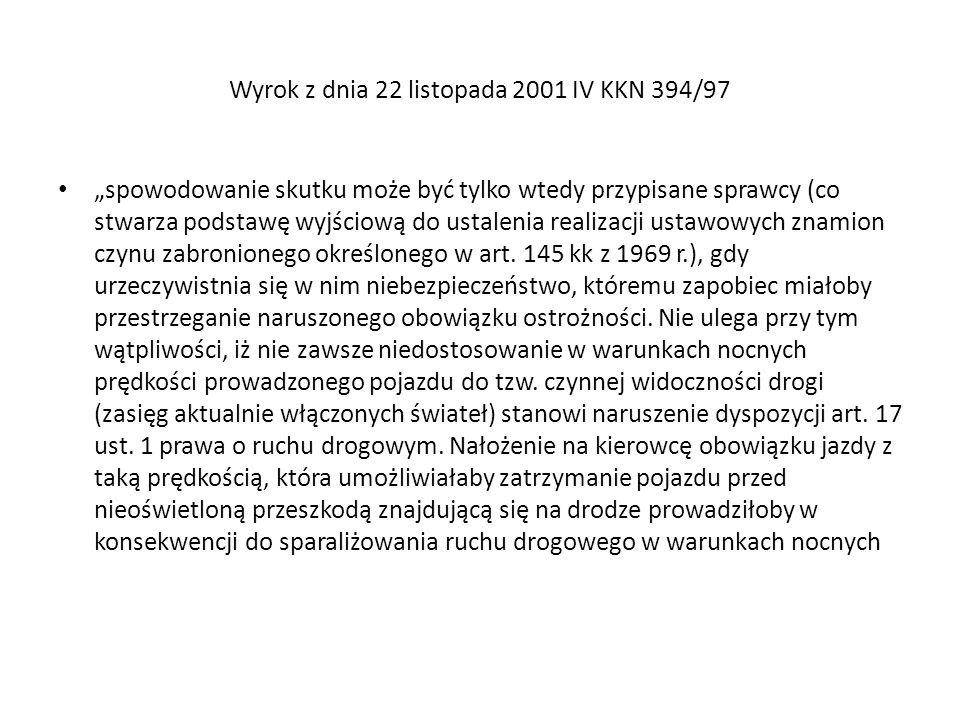 Wyrok z dnia 22 listopada 2001 IV KKN 394/97 spowodowanie skutku może być tylko wtedy przypisane sprawcy (co stwarza podstawę wyjściową do ustalenia r