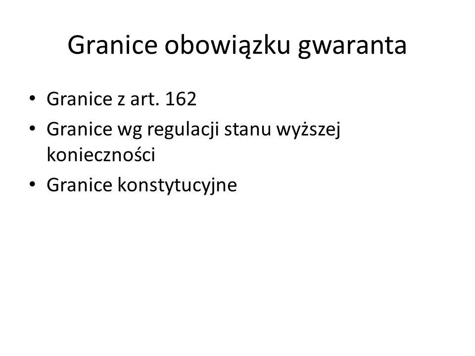 Granice obowiązku gwaranta Granice z art. 162 Granice wg regulacji stanu wyższej konieczności Granice konstytucyjne