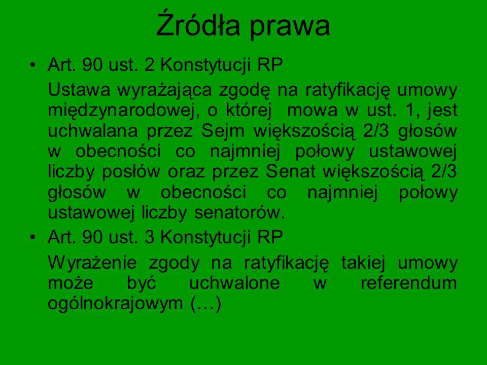 Źródła prawa Wyrok TK K 18/04 Ustawy upoważniające do ratyfikacji umowy międzynarodowej są uchwalane przy zachowaniu stosownych wymagań proceduralnych przy podejmowaniu decyzji przez Sejm i Senat.
