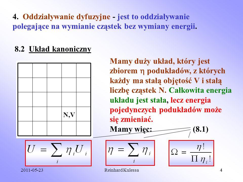 2011-05-234Reinhard Kulessa4 4. Oddziaływanie dyfuzyjne - jest to oddziaływanie polegające na wymianie cząstek bez wymiany energii. 8.2 Układ kanonicz