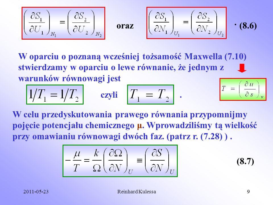 2011-05-239Reinhard Kulessa9 (8.6)oraz. W oparciu o poznaną wcześniej tożsamość Maxwella (7.10) stwierdzamy w oparciu o lewe równanie, że jednym z war