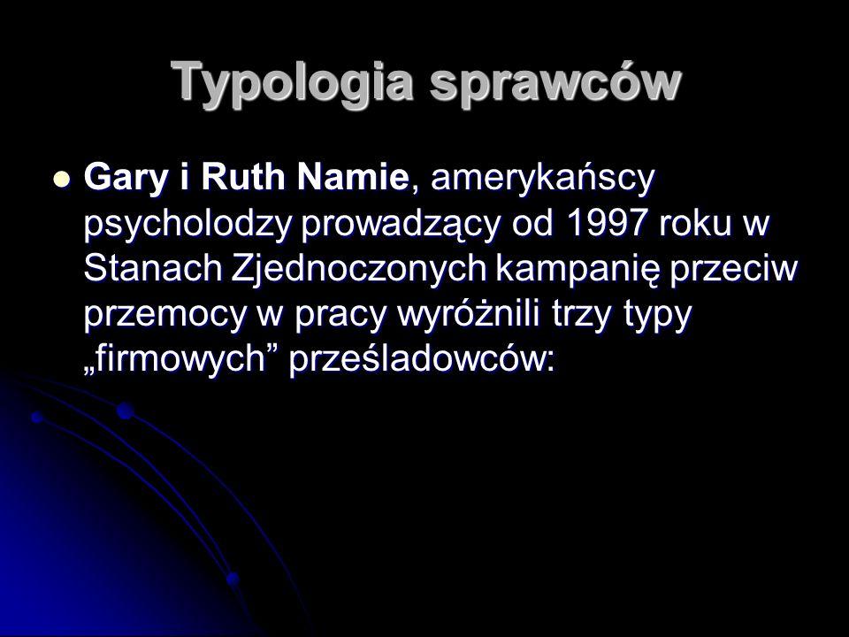 Typologia sprawców Gary i Ruth Namie, amerykańscy psycholodzy prowadzący od 1997 roku w Stanach Zjednoczonych kampanię przeciw przemocy w pracy wyróżn