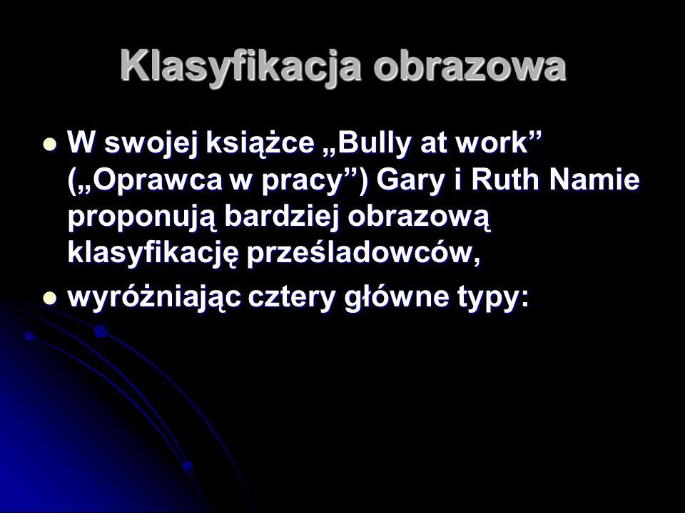 Klasyfikacja obrazowa W swojej książce Bully at work (Oprawca w pracy) Gary i Ruth Namie proponują bardziej obrazową klasyfikację prześladowców, W swo
