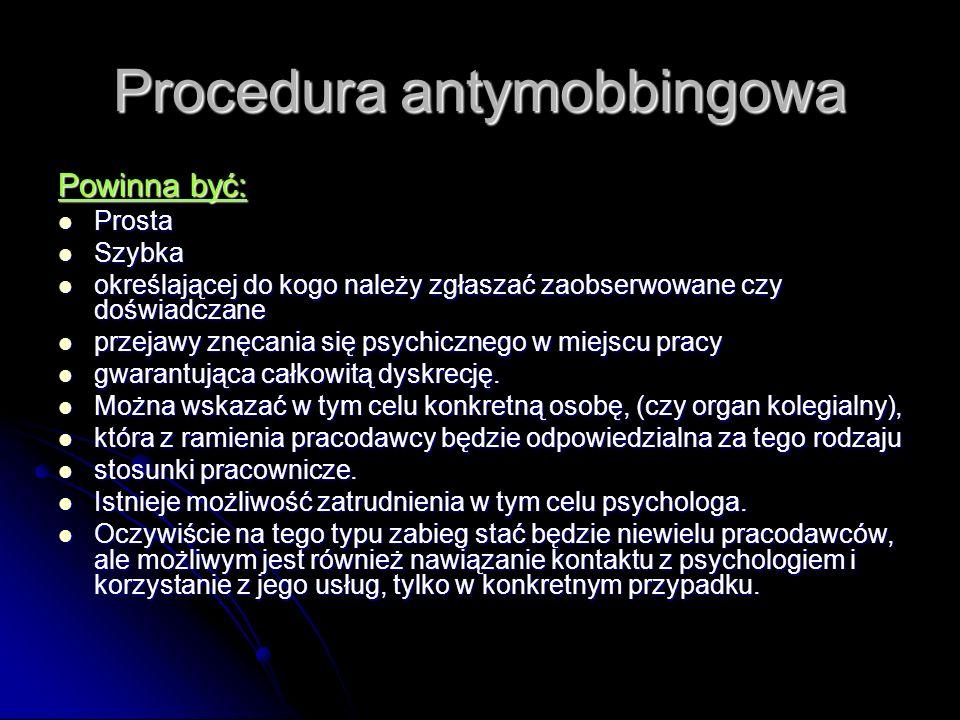Procedura antymobbingowa Powinna być: Prosta Prosta Szybka Szybka określającej do kogo należy zgłaszać zaobserwowane czy doświadczane określającej do