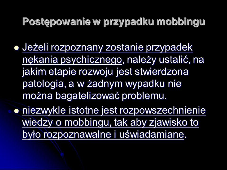 Postępowanie w przypadku mobbingu Jeżeli rozpoznany zostanie przypadek nękania psychicznego, należy ustalić, na jakim etapie rozwoju jest stwierdzona