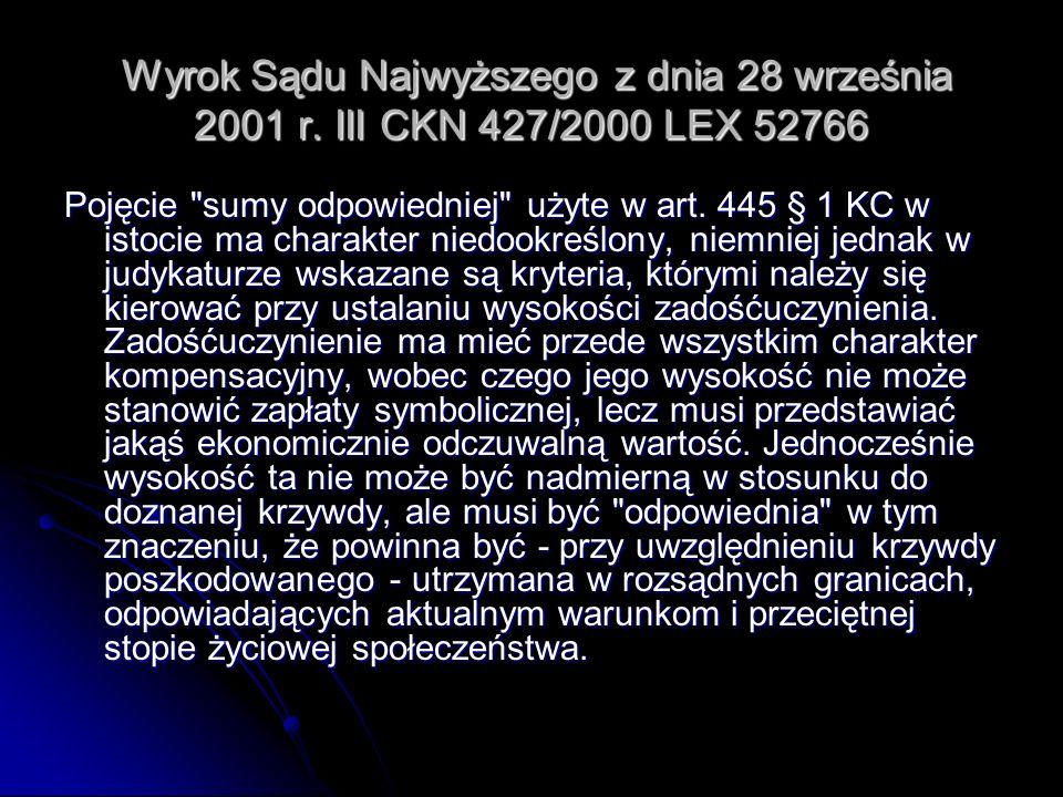 Wyrok Sądu Najwyższego z dnia 28 września 2001 r. III CKN 427/2000 LEX 52766 Wyrok Sądu Najwyższego z dnia 28 września 2001 r. III CKN 427/2000 LEX 52