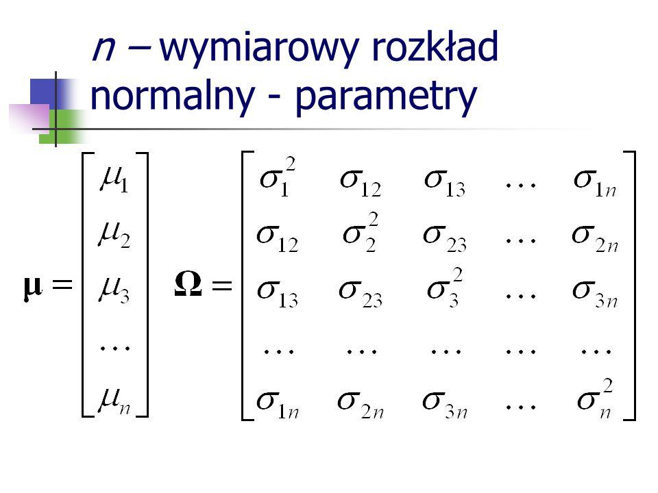 n – wymiarowy rozkład normalny - parametry