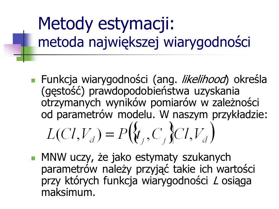 Metody estymacji: metoda największej wiarygodności Funkcja wiarygodności (ang. likelihood) określa (gęstość) prawdopodobieństwa uzyskania otrzymanych