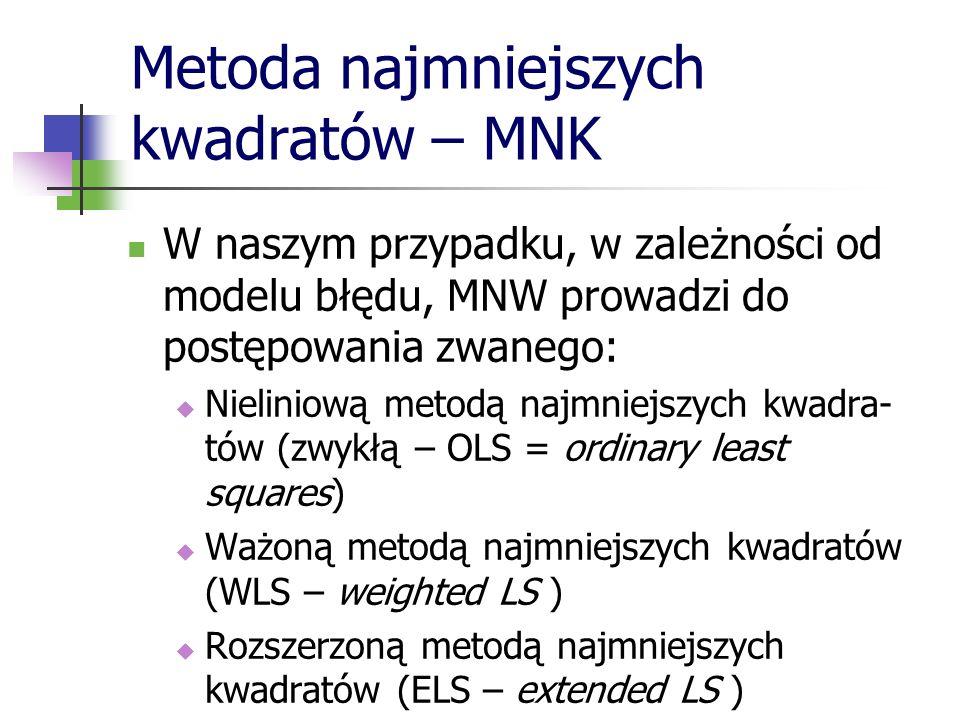 Metoda najmniejszych kwadratów – MNK W naszym przypadku, w zależności od modelu błędu, MNW prowadzi do postępowania zwanego: Nieliniową metodą najmnie
