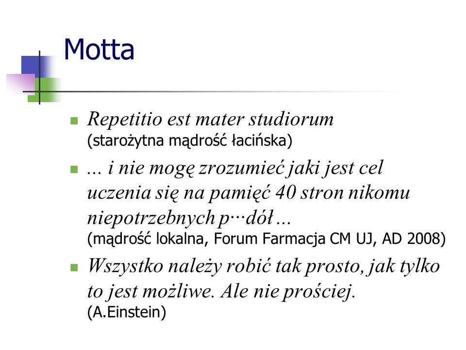 Motta Repetitio est mater studiorum (starożytna mądrość łacińska)... i nie mogę zrozumieć jaki jest cel uczenia się na pamięć 40 stron nikomu niepotrz