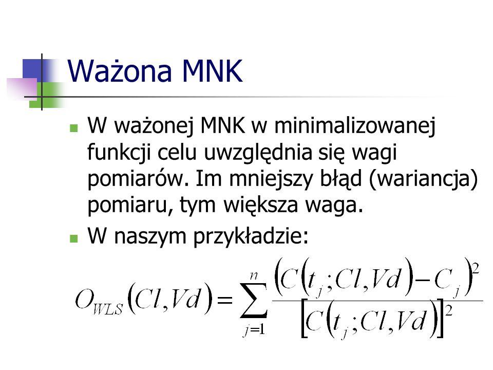 Ważona MNK W ważonej MNK w minimalizowanej funkcji celu uwzględnia się wagi pomiarów. Im mniejszy błąd (wariancja) pomiaru, tym większa waga. W naszym