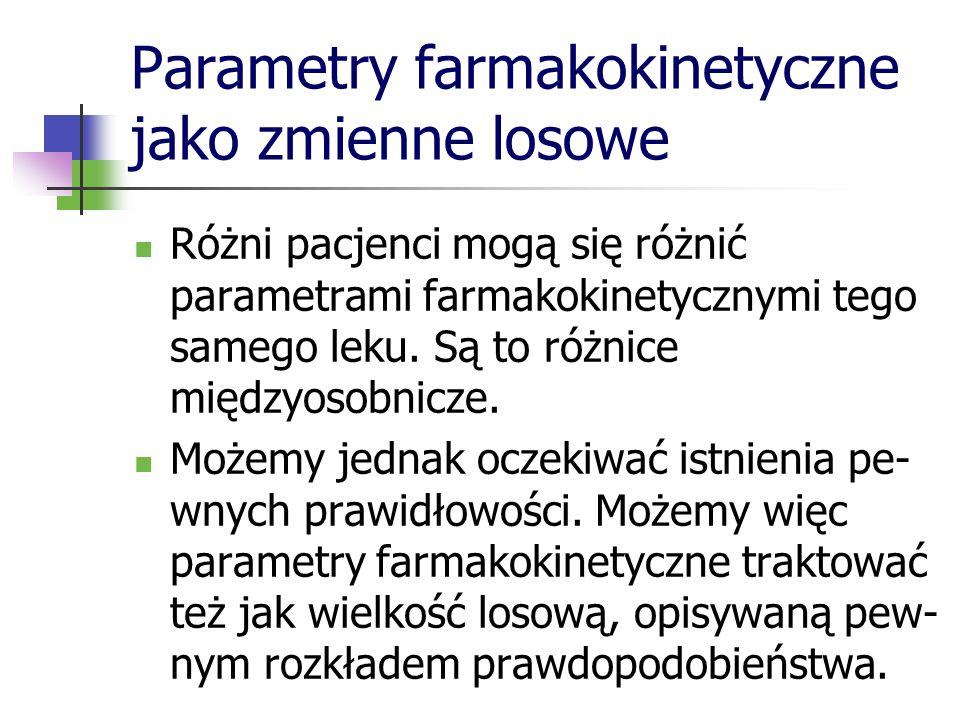 Parametry farmakokinetyczne jako zmienne losowe Różni pacjenci mogą się różnić parametrami farmakokinetycznymi tego samego leku. Są to różnice międzyo