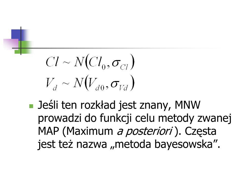 Jeśli ten rozkład jest znany, MNW prowadzi do funkcji celu metody zwanej MAP (Maximum a posteriori ). Częsta jest też nazwa metoda bayesowska.